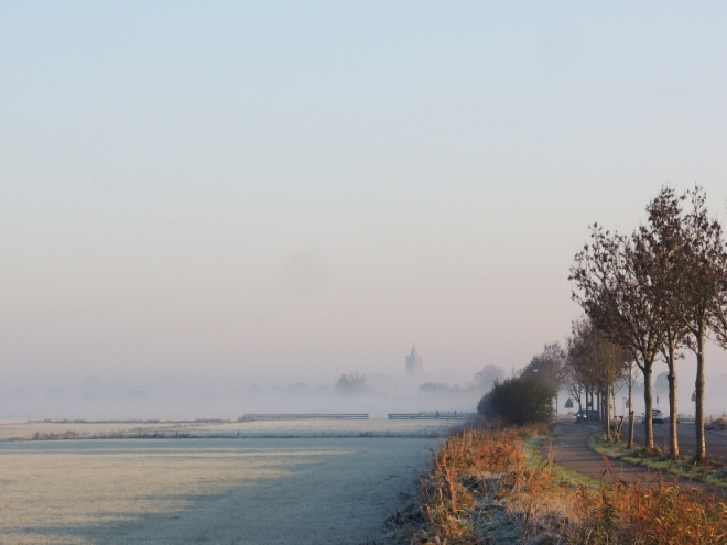 De kerk van Westbroek in de mist
